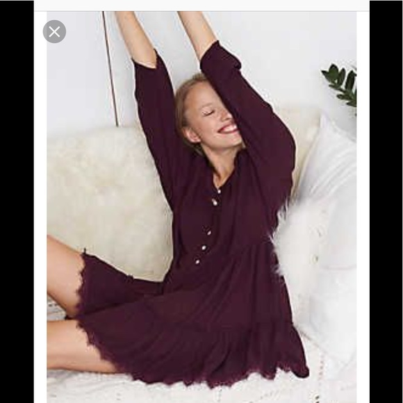 aerie Dresses & Skirts - Aerie Peasant Nighty dress Burgundy sexy frill